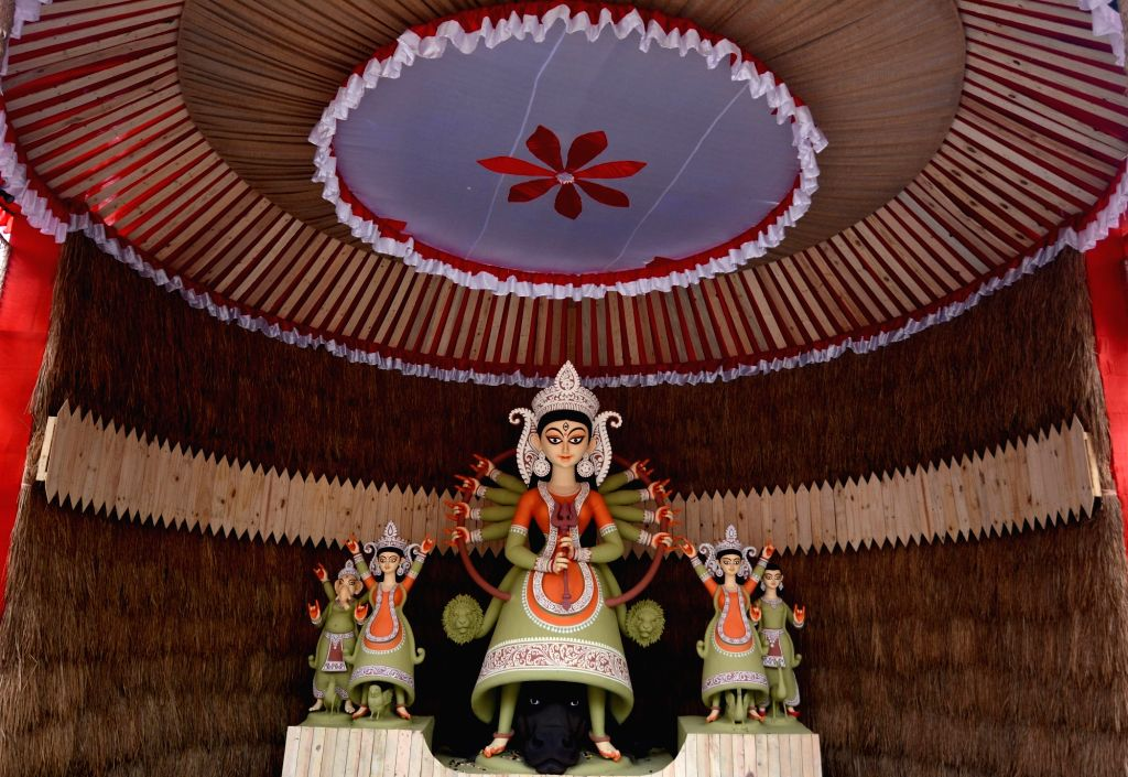 An idol of Goddess Durga at Khidirpur 25 Pally ahead of Durga Puja celebrations, in Kolkata on Oct 19, 2020.