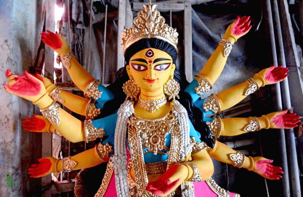 An idol of Goddess Durga at Kumartuli workshop ahead of Durga Puja celebrations, in Kolkata on Oct 14, 2020.