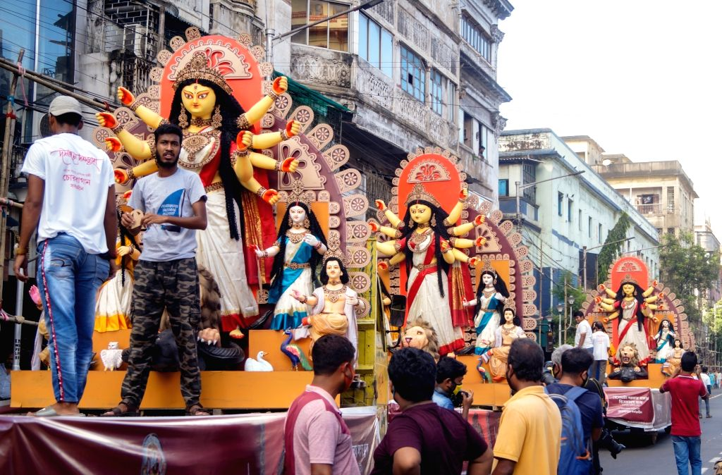 An Idol of Goddess Durga despatch from Kolkata's Chorbagan Puja Committee to different puja pandals. Chorbagan Sarbojanin Durgotsav committee donate Thirteen  Durga idols to different clubs ...