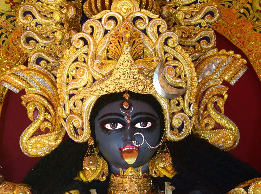 An idol of Goddess Kali at a community puja pandal during Kali Puja celebrations, in Kolkata on Nov 14, 2020.