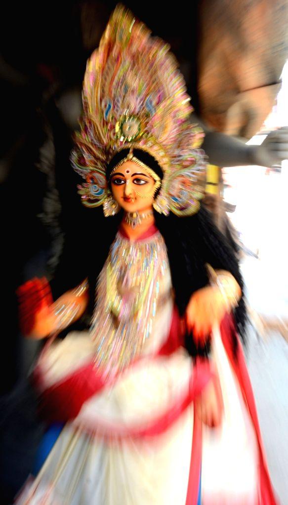 An idol of Goddess Laxmi at the Kumartuli workshop on the eve of Laxmi Puja celebrations in Kolkata on Oct 29, 2020.