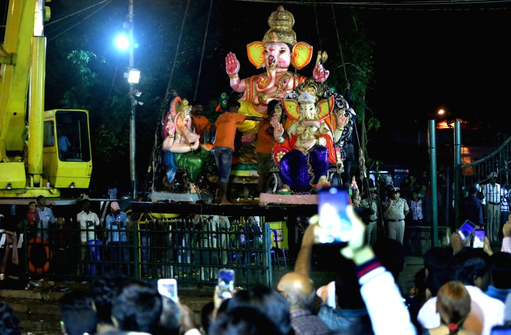 An idol of lord Ganesh being taken for immersions in Bengaluru on Sept 16, 2018.