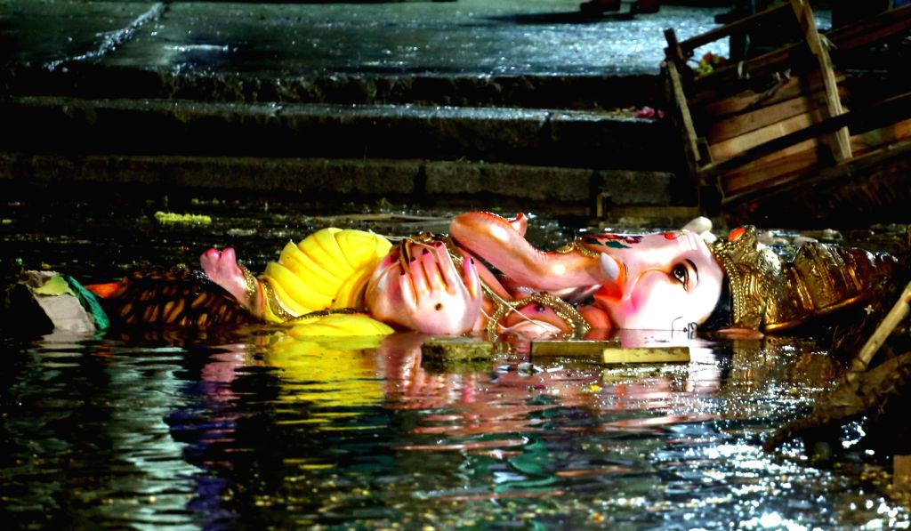 An idol of lord Ganesh immersed in Bengaluru's Ulsoor Lake on Sept 16, 2018.