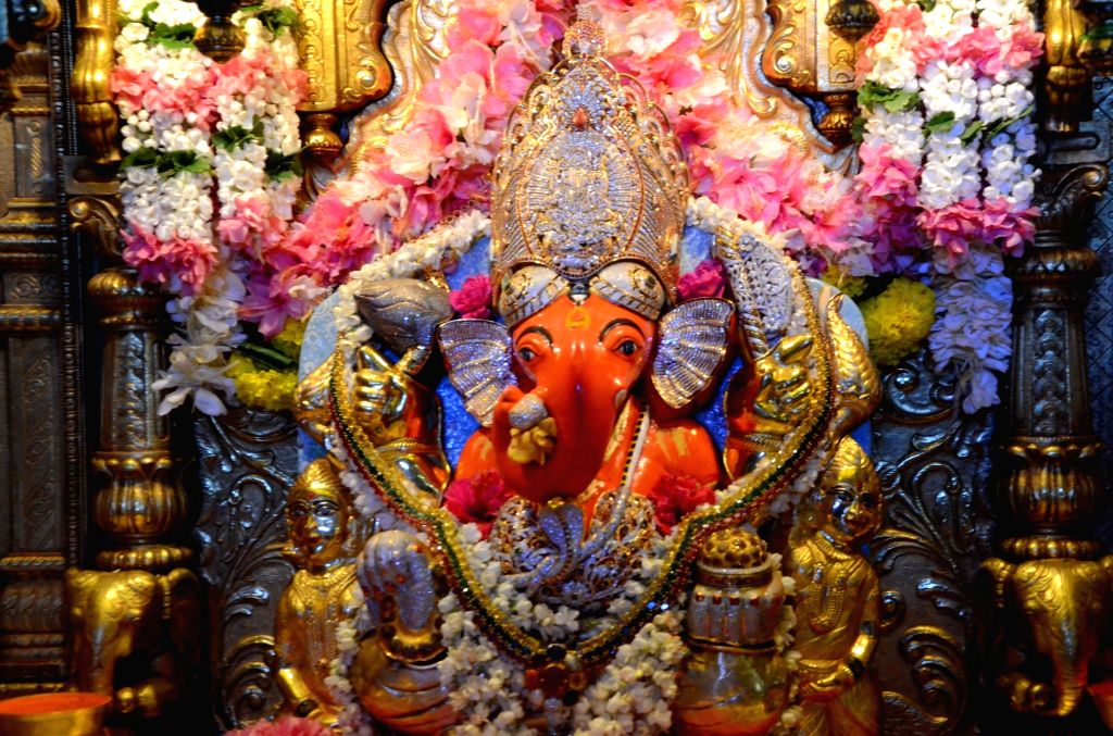 An idol of Lord Ganesha at the Siddhivinayak Temple, in Mumbai on Sept 10, 2018.