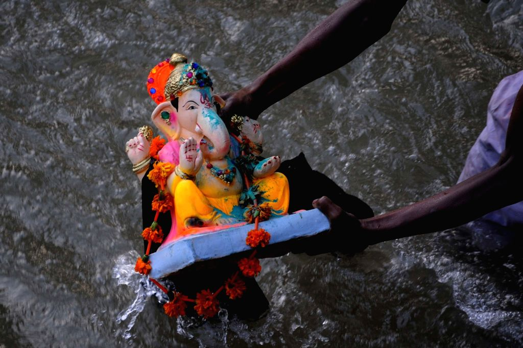 An idol of Lord Ganesha being immersed in a canal on the outskirts of Amritsar, on Sept 15, 2018.