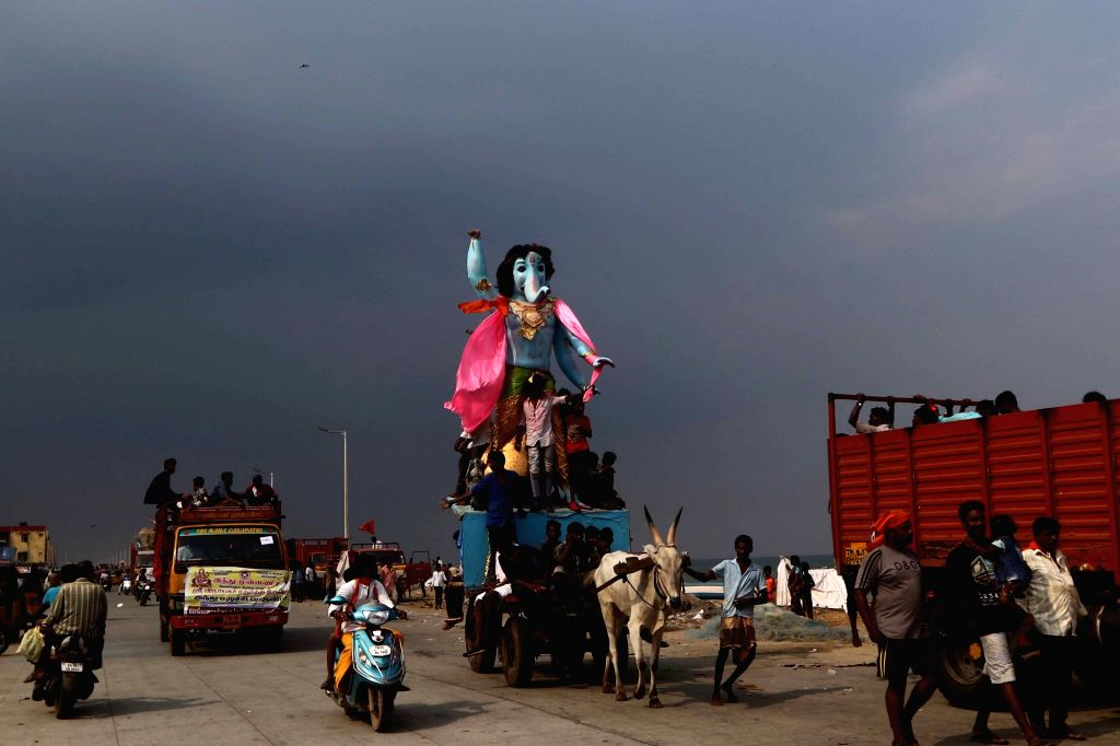 An idol of Lord Ganesha being taken for immersion, in Chennai on Sept 16, 2018.
