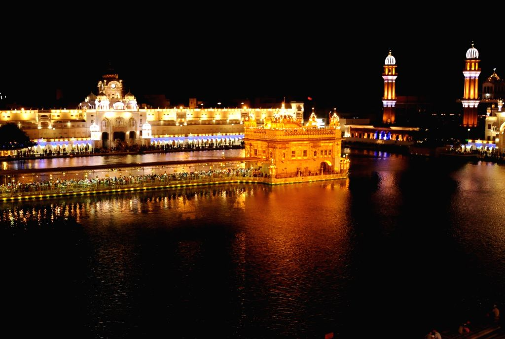 An illuminated Golden Temple on the occasion of birth anniversary celebrations of the ninth Sikh Guru, Guru Tegh Bahadur, in Amritsar on April 24, 2019.