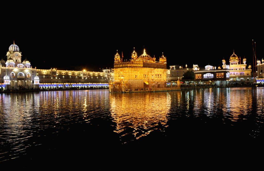An illuminated Golden Temple on the occasion of eighth Sikh Guru Har Krishan Sahib's birth anniversary in Amritsar, on July 26, 2019.