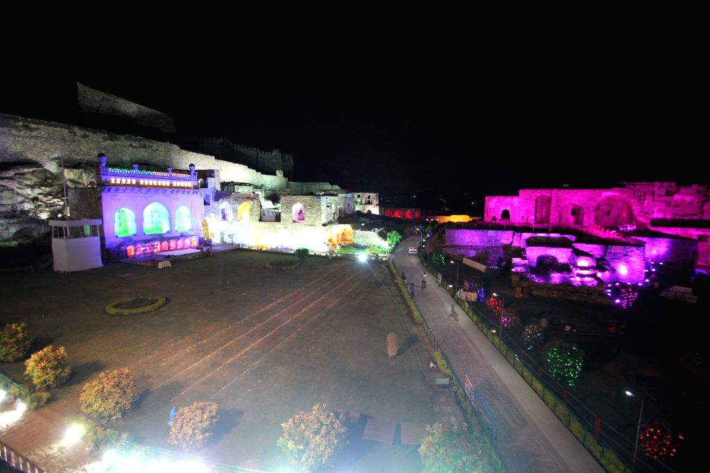 An illuminated Golkonda Fort ahead of Independence Day in Hyderabad on Aug 13, 2016.
