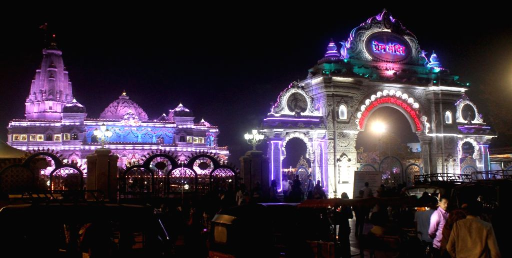An illuminated Prem Mandir on the eve of Diwali in Mathura on Oct 29, 2016.