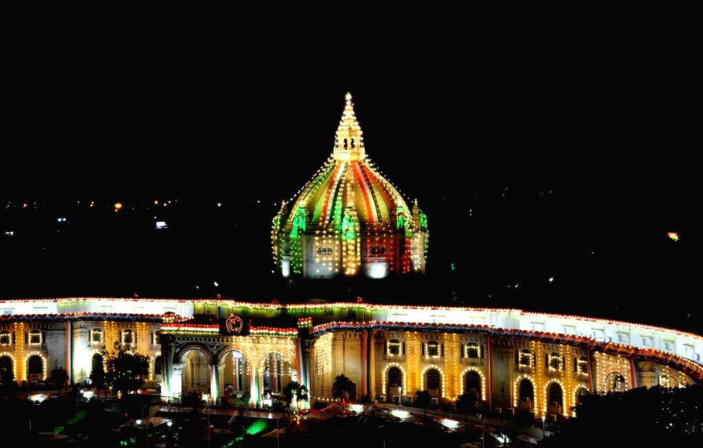 An illuminated Uttar Pradesh Vidhan Sabha ahead of Independence Day in Lucknow on Aug 13, 2016.