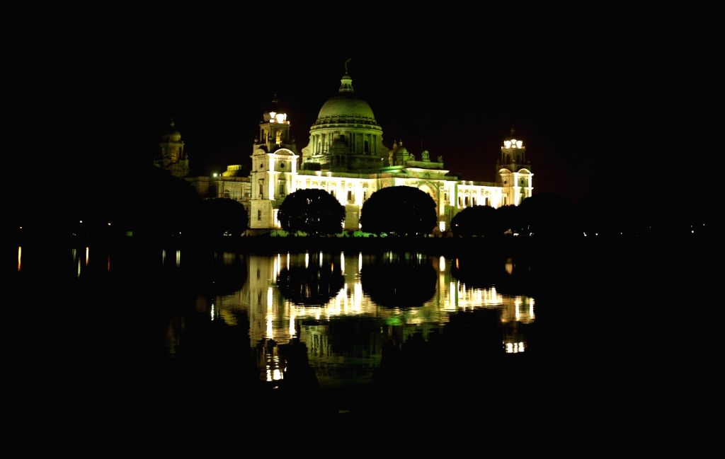 An illuminated Victoria Memorial on the eve of 'World Environment Day' in Kolkata on June 4, 2016.