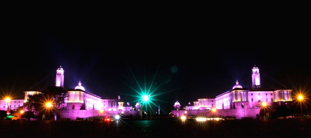 An Illuminated view of Presidential house after the today's storm weather in new Delhi on Monday March 30, 2021 .