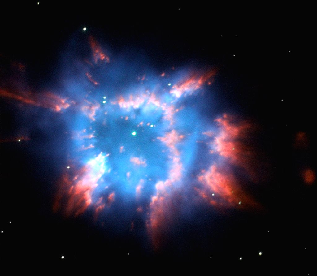 An image of the planetary nebula NGC 6326 captured by the Hubble Space Telescope looks like a colourful holiday ornament in space. (Photo: NASA/ESA)