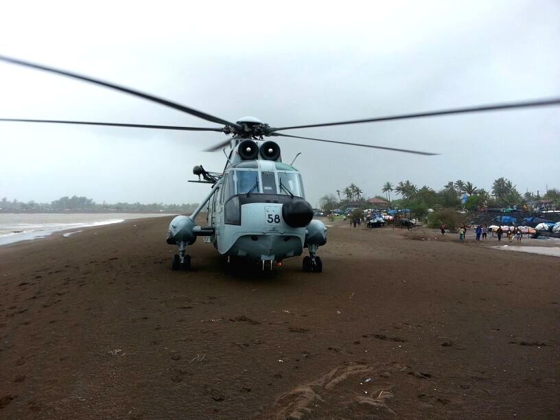An Indian Air Force Chetak helicopter headed to Chandigarh with medical samples made an emergency landing on Outer Ring Road here following technical snag, official statement said on Thursday. (Photo: IANS)