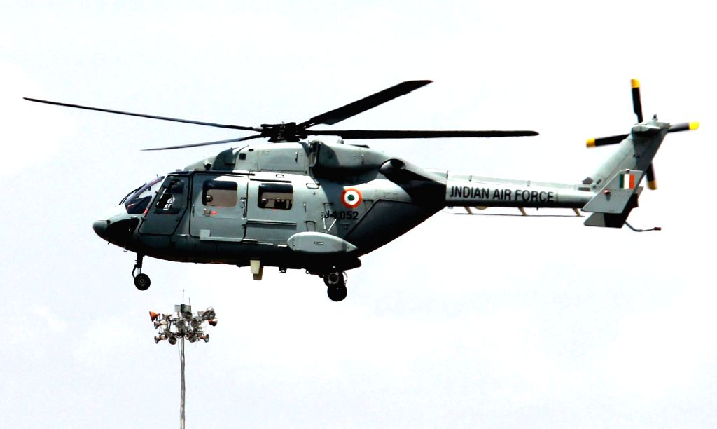 An Indian Air Force Dhruva ALH helicopter during a media preview ahead of the 84th anniversary of Indian Air Force in Bengaluru on Oct 4, 2016.