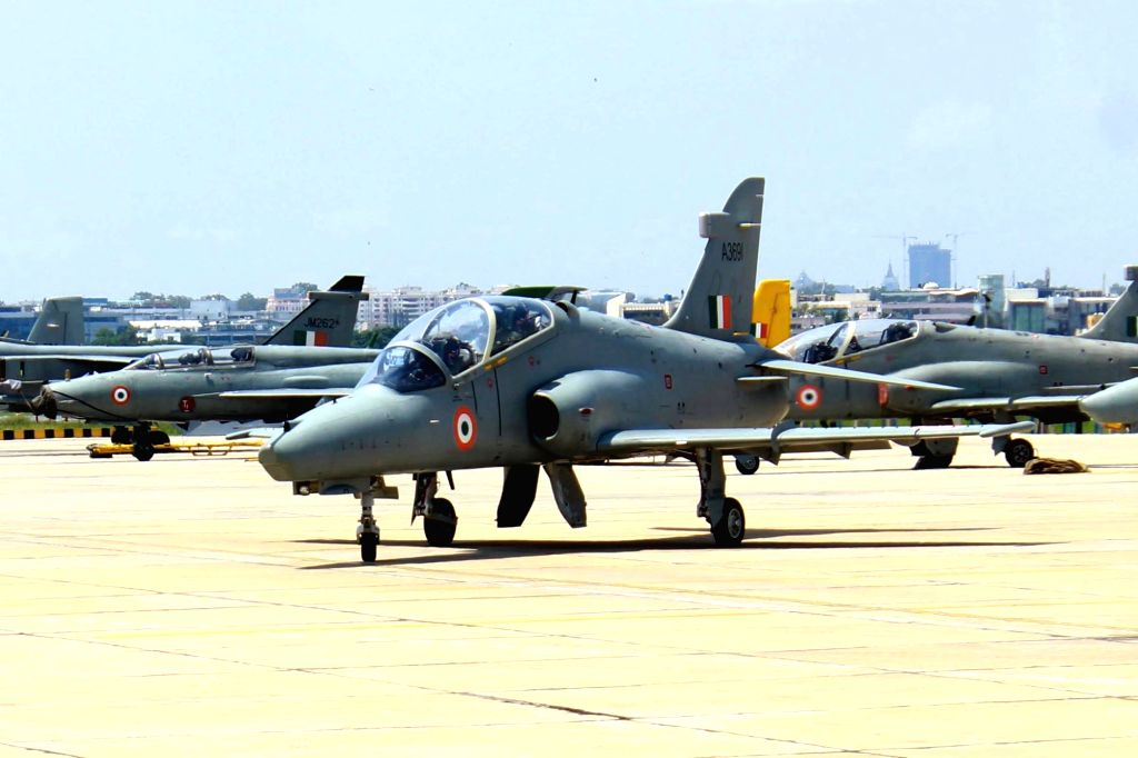 An Indian Air Force Hawk MK 132 trainer during a media preview ahead of the 84th anniversary of Indian Air Force in Bengaluru on Oct 4, 2016.