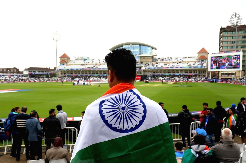 An Indian cricket fan at Trent Bridge ahead of the 18th Match of World Cup 2019 between India and New Zealand that has been delayed due to rains in Nottingham, England on June 13, 2019.