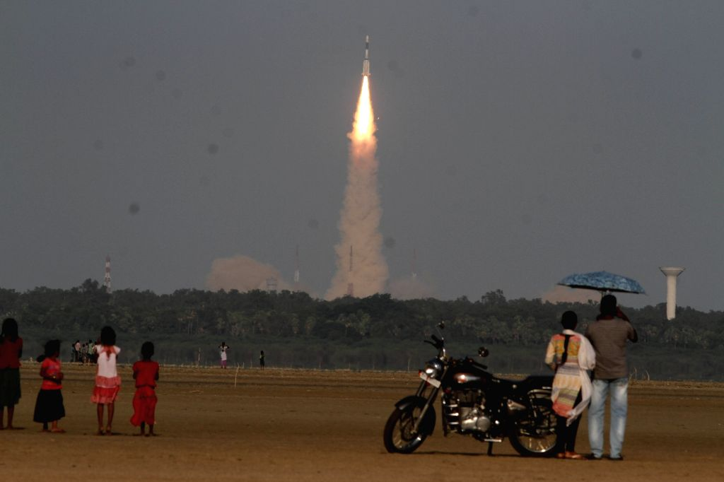 An Indian rocket with an over two tonne INSAT-3DR advanced weather satellite blasts off from the Sriharikota spaceport ​in ​Andhra Pradesh on Sept 8, 2016. The launch was delayed for ...