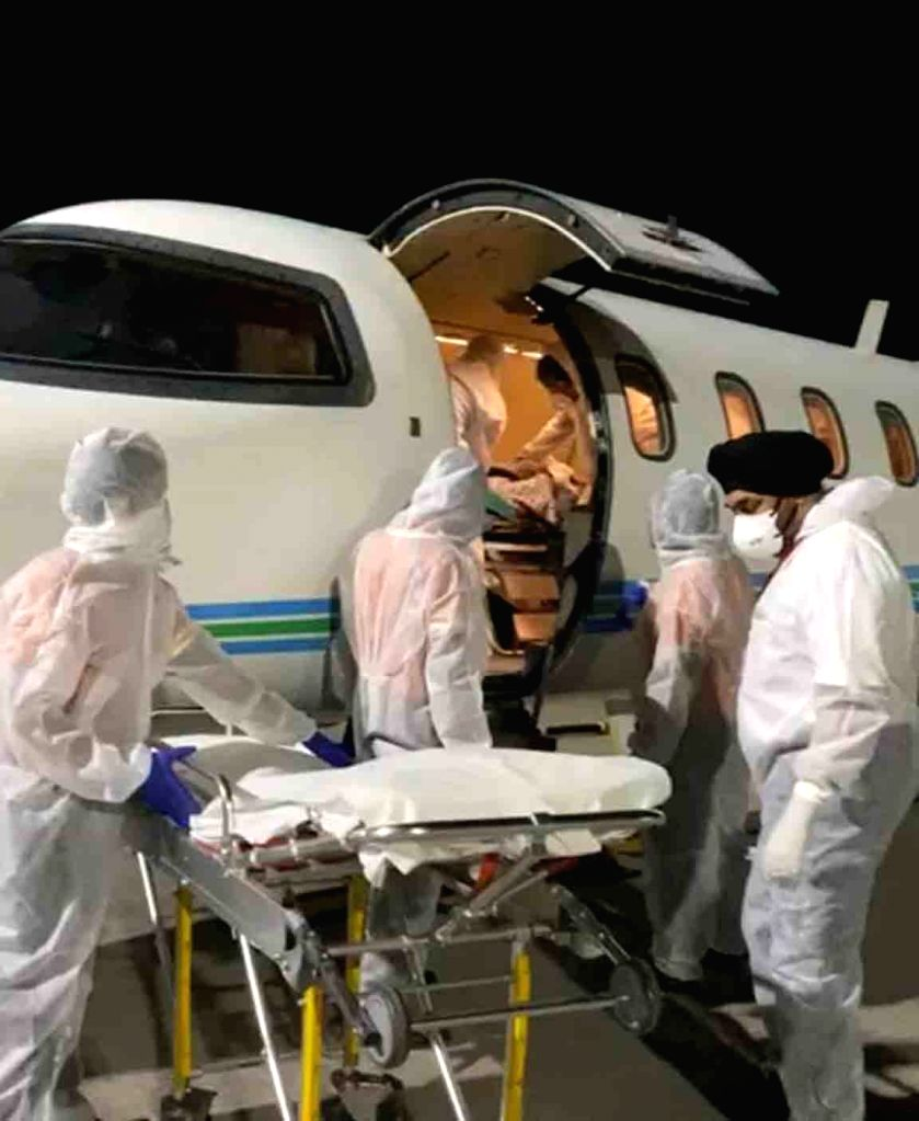 An injured Indian citizen belonging to Hyderabad who was airlifted from Afghanistan's Bagram being brought at Rajiv Gandhi International Airport through an air ambulance for treatment ...