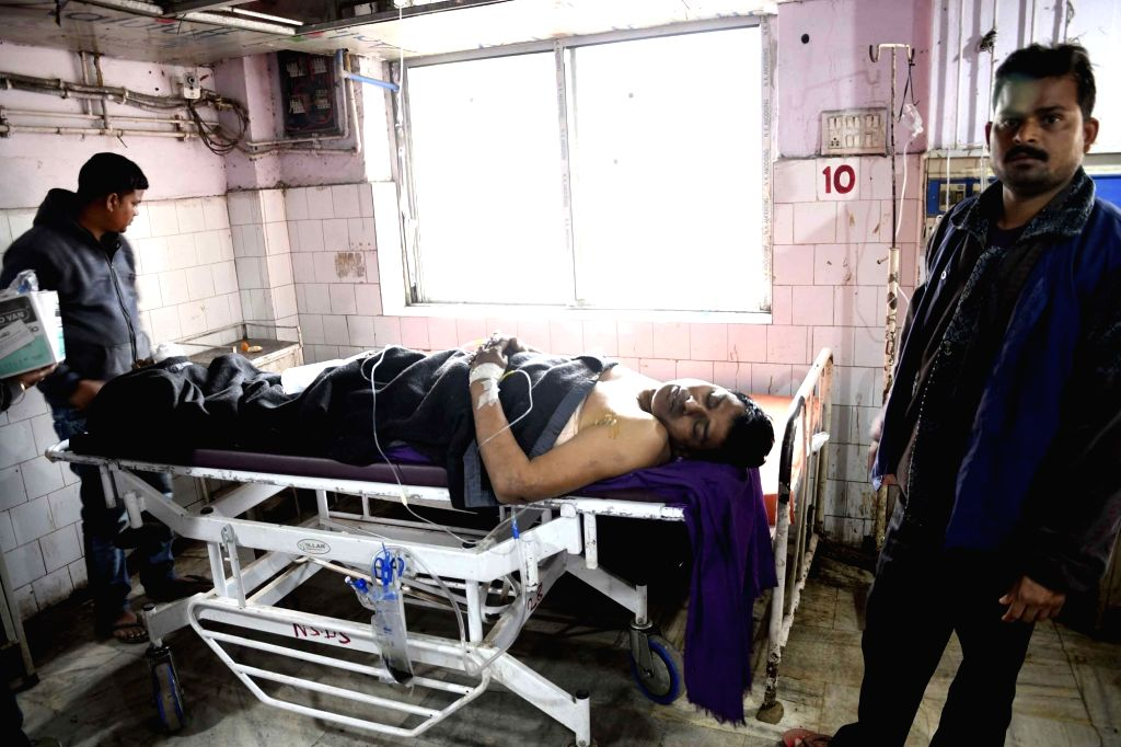 An injured passenger receiving treatment at Patna Medical College and Hospital after 11 coaches of the Delhi-bound Seemanchal Express derailed in Bihar's Vaishali district, on Feb 3, 2019.