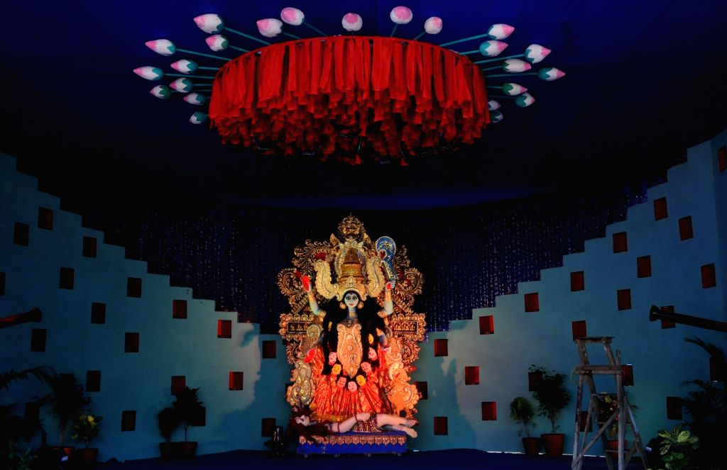 An inside view of a Kali puja pandal on the eve of Kali Puja celebrations, in Kolkata on Nov 13, 2020.