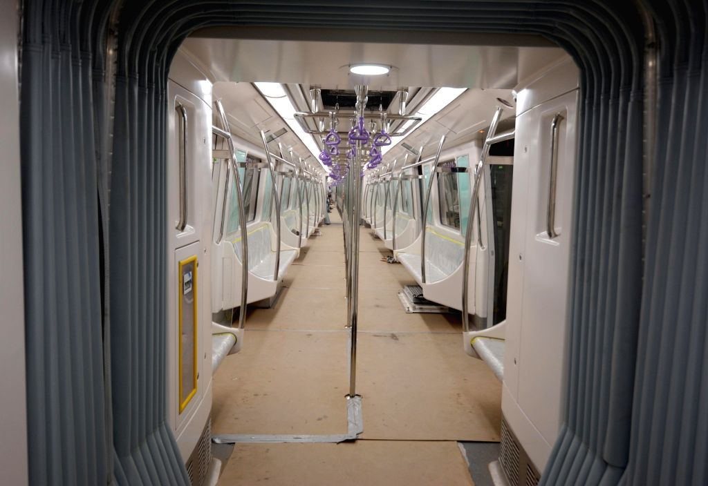 An inside view of a metro rake during the first underground trial run for East-West Metro corridor between Sector V and Phoolbagan metro stations in Kolkata, on May 31, 2019.