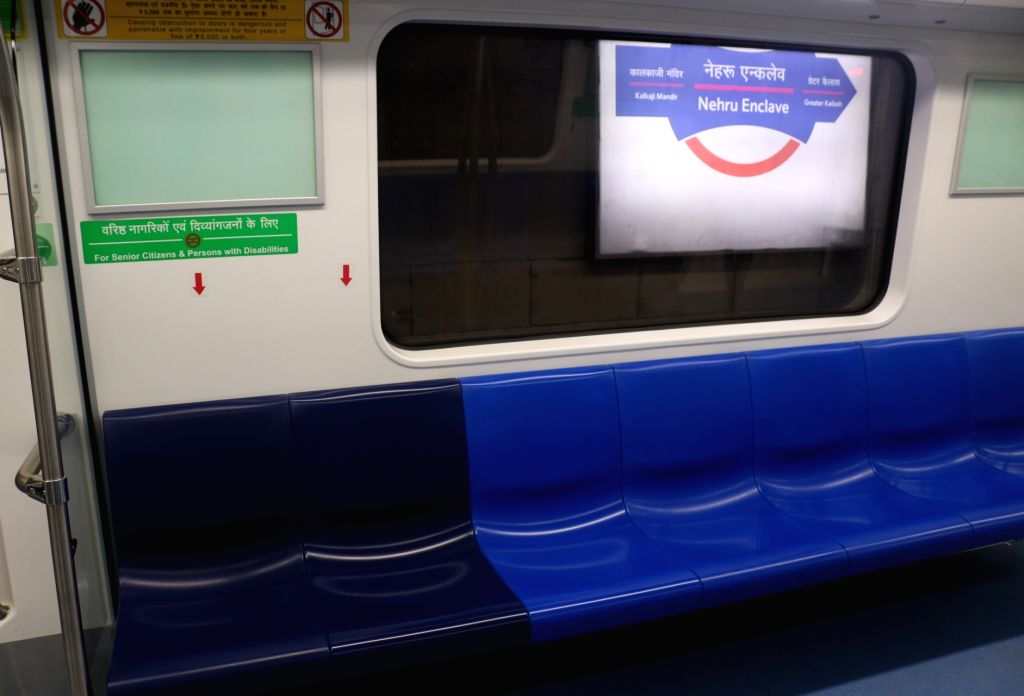 An inside view of a metro rake on the magenta line that is scheduled to be thrown open to the public on May 29, during trial run in New Delhi on May 24, 2018.