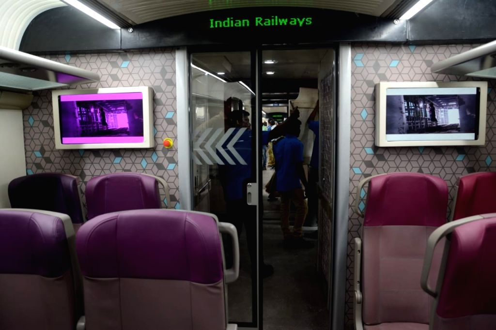 An inside view of India's first trainsetTrain 18 --100-crore indigenously developed high-tech, energy-efficient, self-propelled or engineless train that was flagged off by Railway Board ...