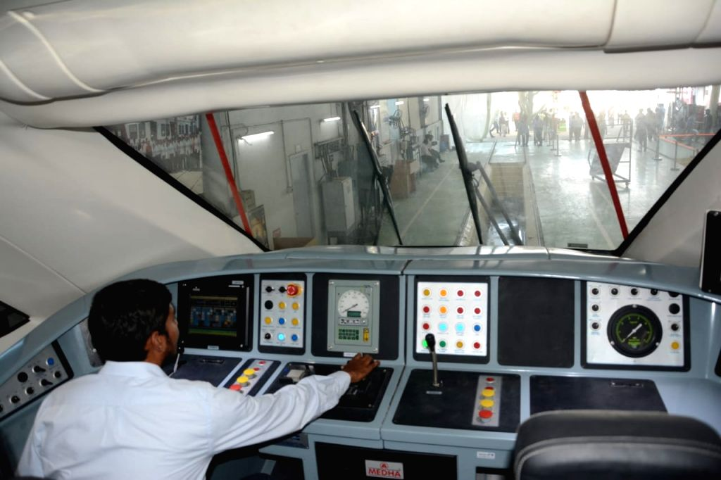 An inside view of the aerodynamically designed driver cabin of India's first trainsetTrain 18 --100-crore indigenously developed high-tech, energy-efficient, self-propelled or engineless ...