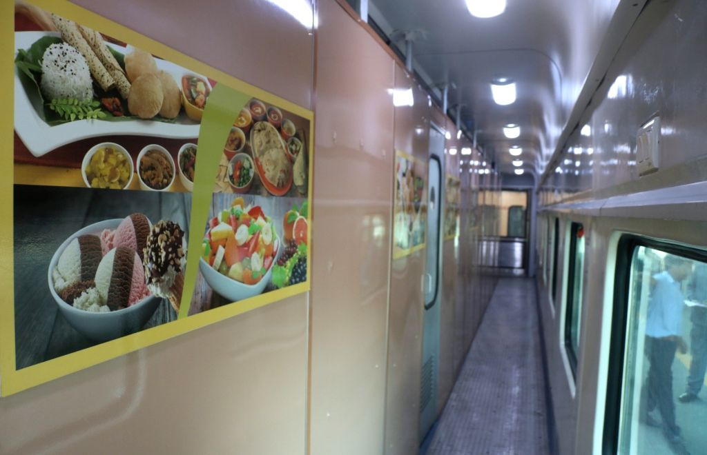 An inside view of the Buddhist Circuit special train reintroduced by the Indian Railways, during media preview at Safdarjung railway station in New Delhi on Oct 18, 2019.