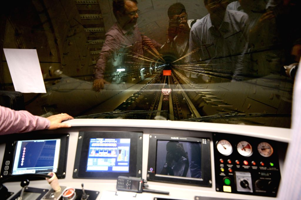 An inside view of the front cabin of Kolkata metro rake during the first underground trial run for East-West Metro corridor between Sector V and Phoolbagan metro stations in Kolkata, on May ...