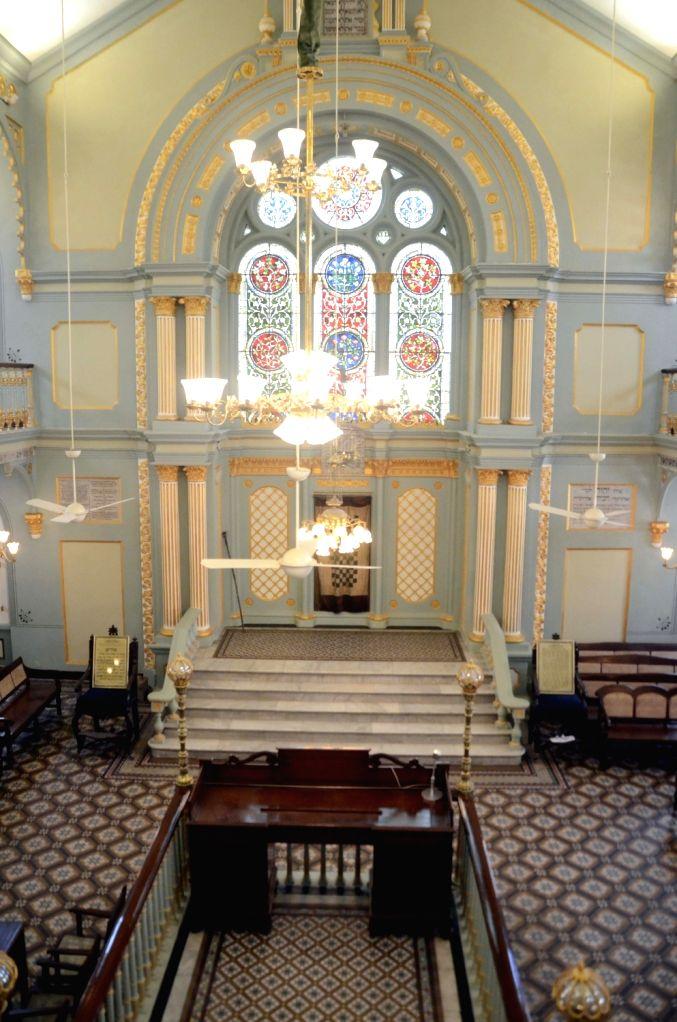 An inside view of the newly restored Keneseth Eliyahoo Synangogue in Mumbai, on Feb 5, 2019.