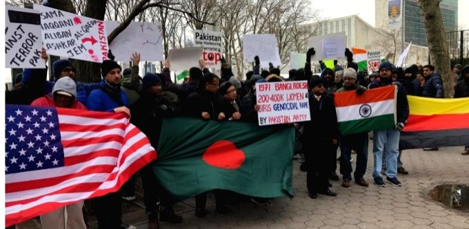 An international gathering of concerned people protested on Sunday, March 3, 2019, outside the United Nations headquarters demanding that the world body take action Pakistan for sponsoring terrorism.