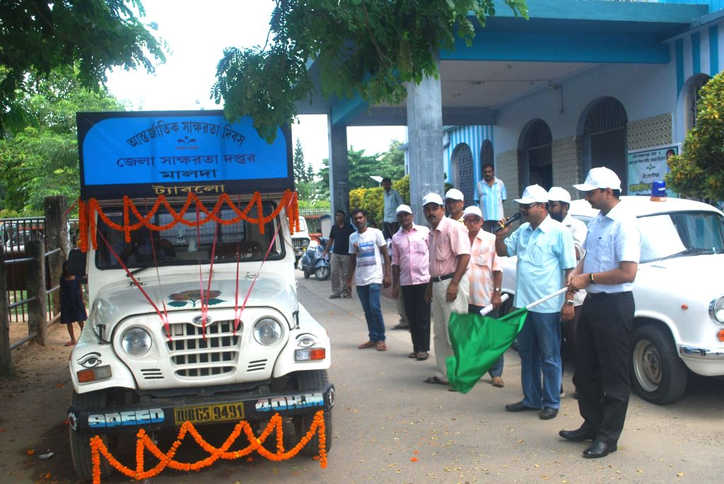 An International Literacy Day tableau of Malda district administration being flagged off in Malda on Sept 8, 2014.
