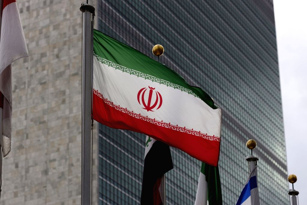 An Iranian flag is pictured at the United Nations headquarters in New York, Jan. 8, 2020. In response to questions regarding Iranian Foreign Minister Mohammed ... - Mohammed Javad Zari