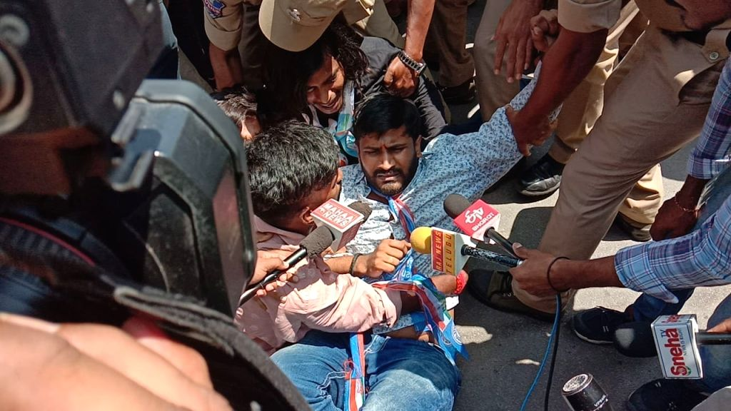 An NSUI activist being detained after he tried to enter the Telangana Assembly during a protest, in Hyderabad on Sep 21, 2019.