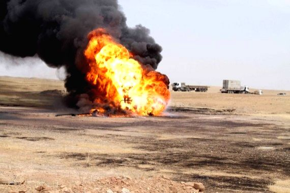An oil well in the Bai Hassan oil field was set ablaze after Islamic State (IS) militants blew it up in Kirkuk, Iraq, on May 5, 2021. - Hassan