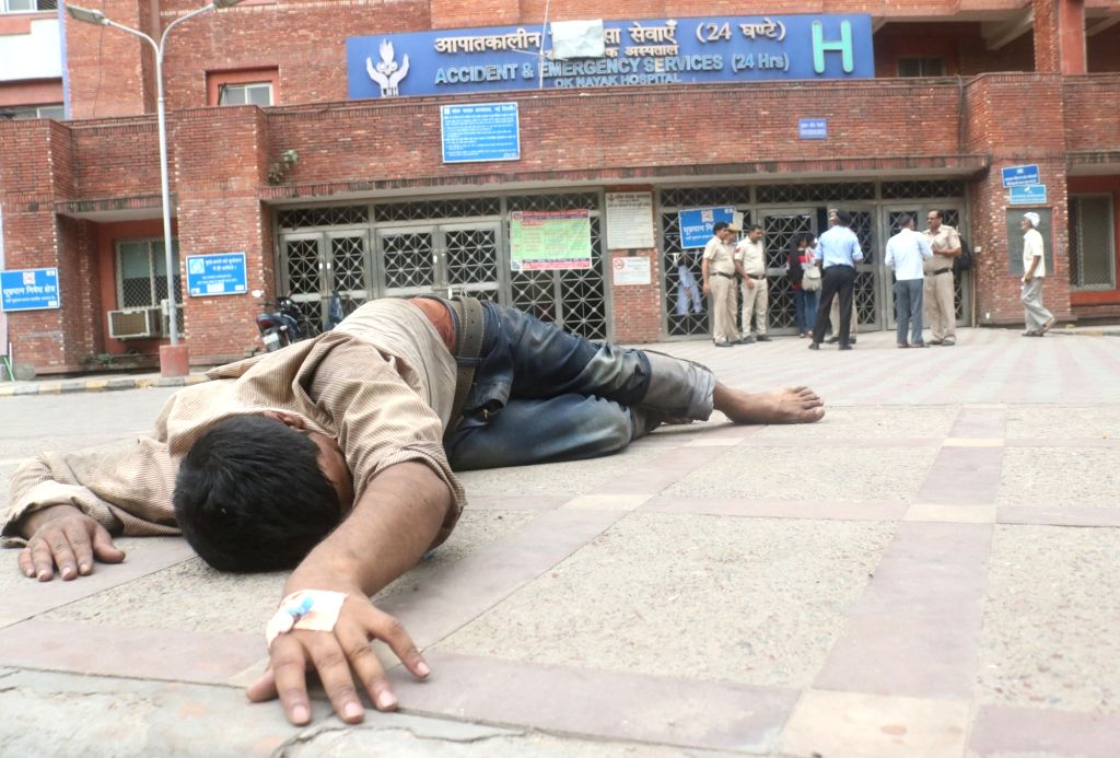 An unattended patient outside the Accident and Emergency ward of Lok Nayak Jai Prakash (LNJP) Hospital where doctors went on a strike as they are protesting against the National Medical ...