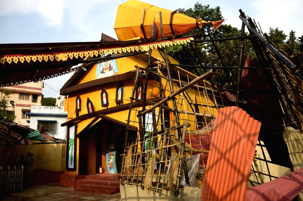 An under-construction community puja pandal ahead of Durga Puja celebrations, in Kolkata on Oct 21, 2020.