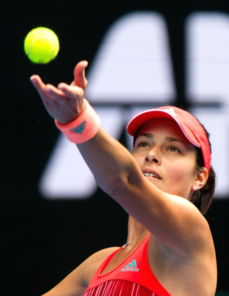 Ana Ivanovic of Serbia competes against Tammi Patterson of Australia during the first round match of women's singles at the Australian Open Tennis Championships ...