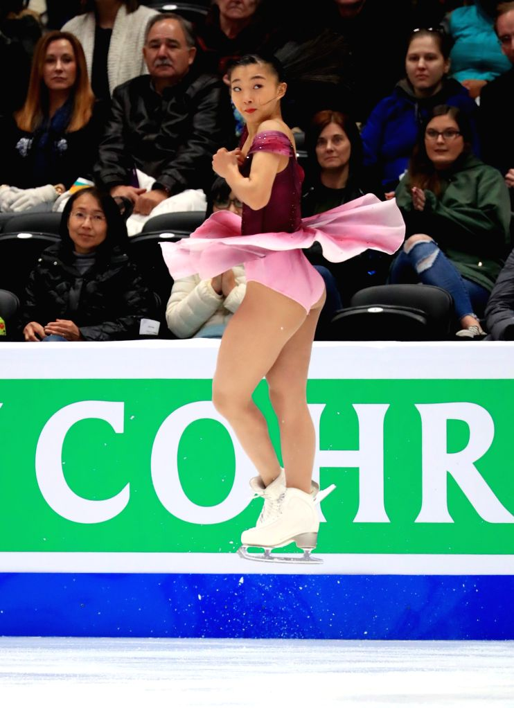 ANAHEIM, Feb. 8, 2019 - Kaori Sakamoto of Japan performs during the ladies' short program of the ISU Four Continents Figure Skating Championships 2019 in Anaheim, the United States, Feb. 7, 2019.