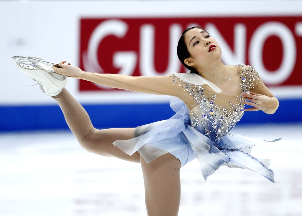 ANAHEIM, Feb. 9, 2019 - Mai Mihara of Japan competes during the Ladies Free Skating of the ISU Four Continents Figure Skating Championships in Anaheim, the United States, Feb. 8, 2019.