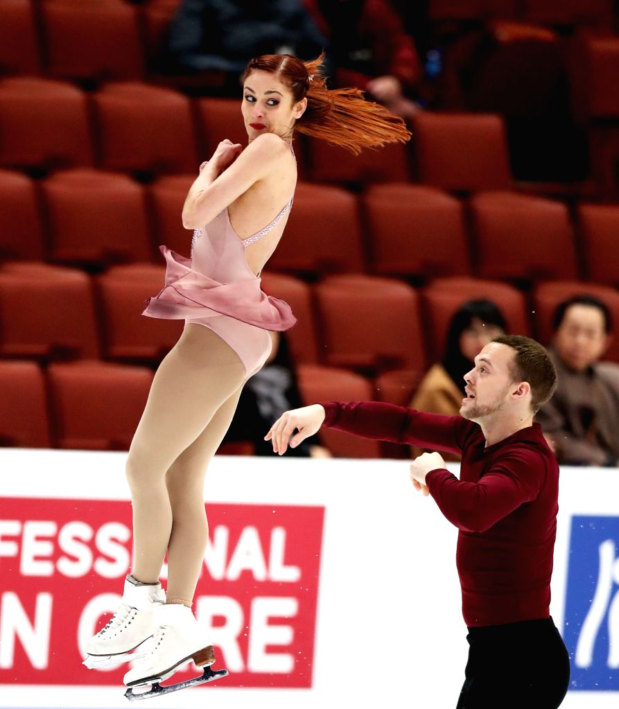 ANAHEIM, Feb. 9, 2019 - Tarah Kayne (L) / Danny O'shea of the United States compete during the pairs' short program of the ISU Four Continents Figure Skating Championships 2019 in Anaheim, the United ...