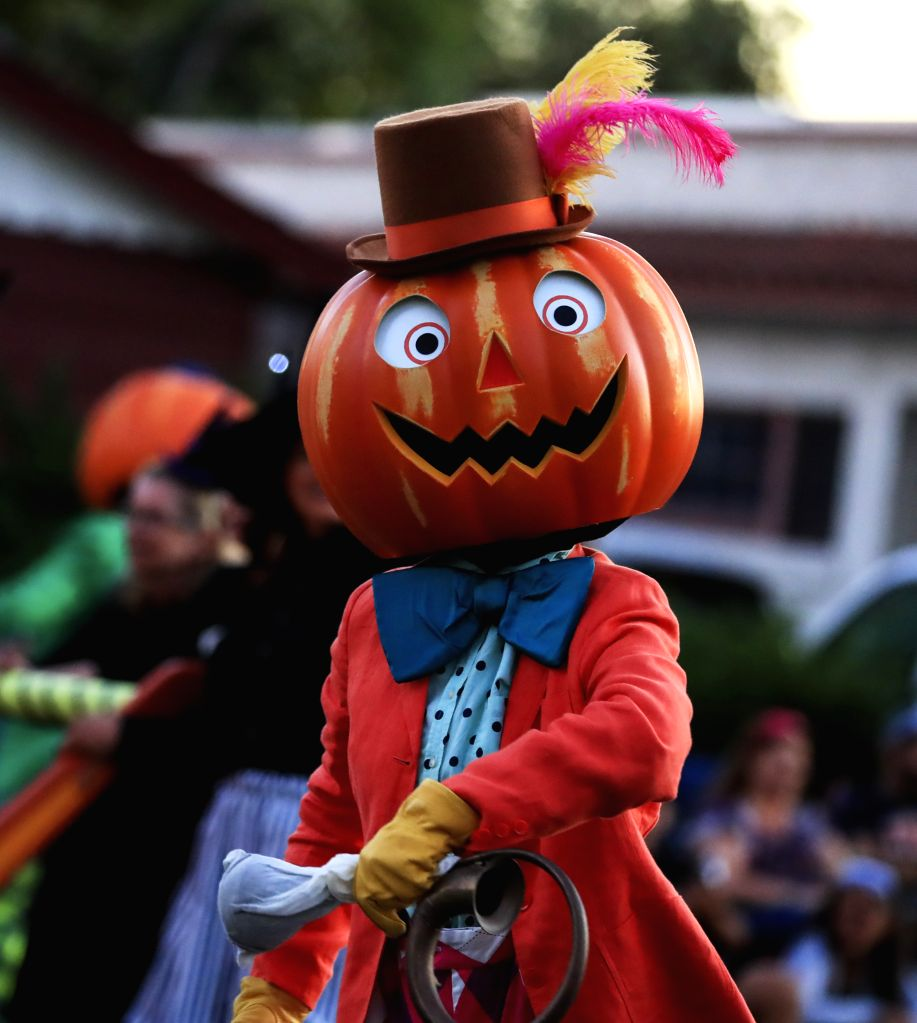 ANAHEIM, Oct. 28, 2019 - People in costume participate in Anaheim Halloween Parade in Anaheim, the United States, Oct. 26, 2019.