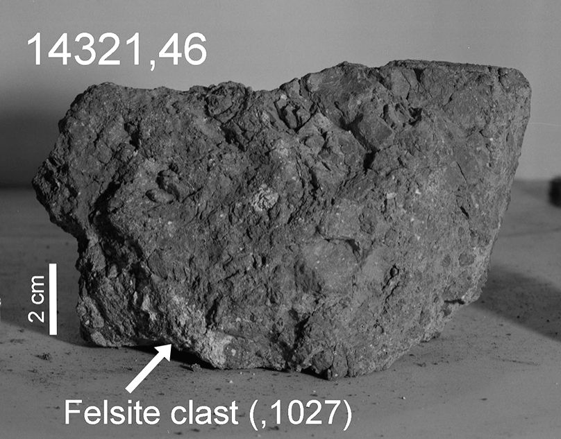 Analysis of lunar samples from the Apollo 14 mission shows that a large impacting asteroid or comet hurtled a piece of Earth rock, about 4 billion years ago, on the Moon's surface. The 2 gram fragment of rock was composed of quartz, feldspar, and zir