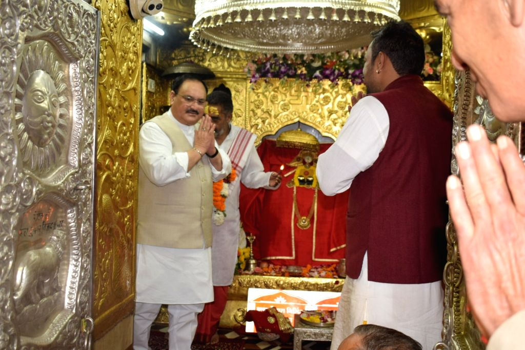 Anandpur Sahib: BJP National Working President J.P. Nadda offers prayers at Shri Naina Devi Temple in Punjab's Anandpur Sahib, on Oct 7, 2019.
