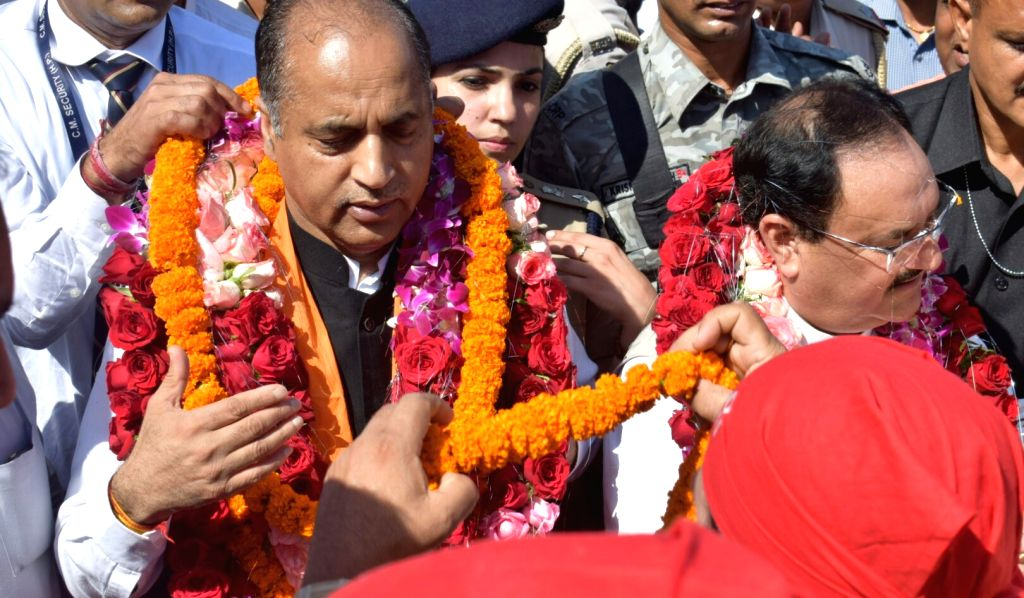 Anandpur Sahib: BJP National Working President J.P. Nadda and Himachal Pradesh Chief Minister Jai Ram Thakur during their visit to Shri Naina Devi Temple in Punjab's Anandpur Sahib, on Oct 7, 2019. - Jai Ram Thakur