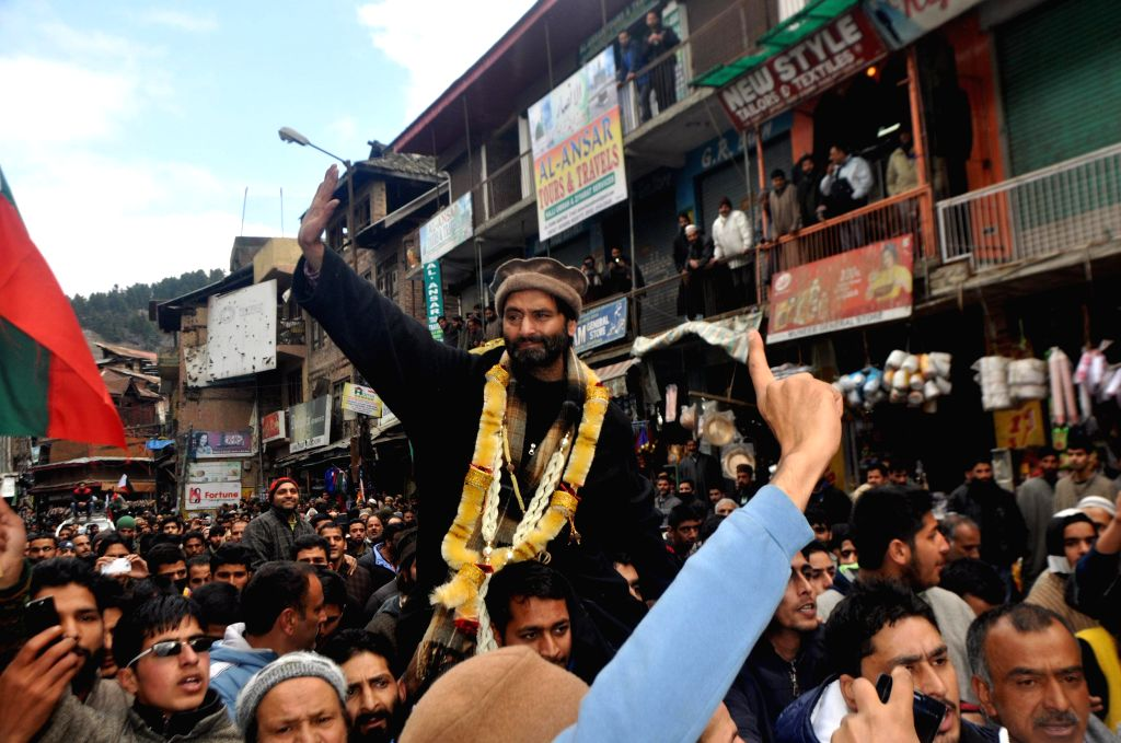 JKLF chairman Mohammad Yasin Malik during a public rally in Anantnag of Jammu and Kashmir on March 6, 2015.
