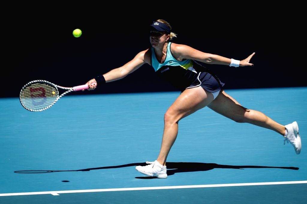 Anastasia Pavlyuchenkova of Russia competes during the women's singles quarterfinal against Garbine Muguruza of Spain at the Australian Open tennis tournament in ...